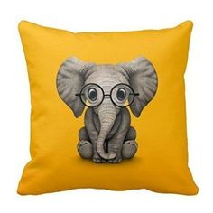 HLPPC Square Decorative Throw Pillow Case Cushion Cover Elephant Wearing Glasses 18 x 18 Inches *** Be sure to check out this awesome product.