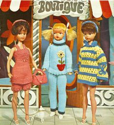 Fashion Doll Clothes Knitting Pattern 3 Outfits by dianeh5091