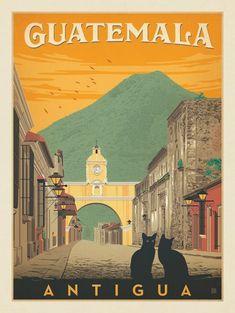Vintage Travel Anderson Design Group – World Travel – Guatemala: Antigua Street Scene - Retro Poster, Vintage Travel Posters, Tikal, Photo Voyage, Pub Vintage, Hand Illustration, Grafik Design, Central America, Poster Prints