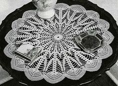 Northern Lights Doily crochet pattern originally published in Doilies, Spool Cotton Book 201. #doilypatterns