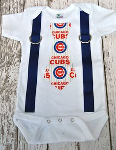 MLB Chicago Cubs Inspired Blue & Red Tie and Suspenders Bodysuit/Shirt - Made to Order - 0-3M through 5T