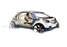 A comprehensive set of exterior and interior design sketches of the forjoy Concept, the futuristic compact four-seater presented by Smart at the 2013 Frankfurt Motor Show. Car Design Sketch, Car Sketch, Car Images, Car Pictures, Rendering Art, Industrial Design Sketch, Smart Fortwo, City Car, Car Drawings