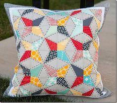 paper pieced kaleidoscope quilt pillow pattern :: FineCraftGuild.com