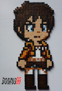 Eren Jäger  attack on titan perler beads hama by Sidorus00 H= 28 cm L= 12 cm