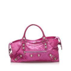 Pink Balenciaga, Balenciaga City Bag, Lambskin Leather, Leather Satchel, Cuir Rose, Motocross, Leather Handle, Shoulder Bag, Purses