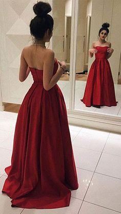 prom dress 2017,prom dress,Red Long Prom Dresses,Elegant Strapless Prom Dress,Ball Gown,Simple Prom Dresses,Sweetheart Satin Dress for Prom 2017