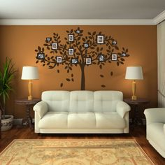 Family Tree Picture Frame Tree Wall Decal.  Love this, and really like what I can see of the rest of the room!