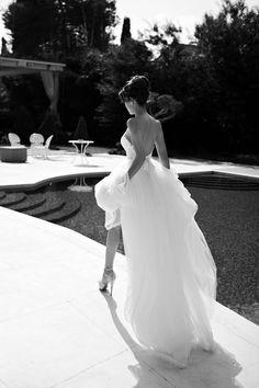 Flowing high-low wedding dress. Julie Vino 2013