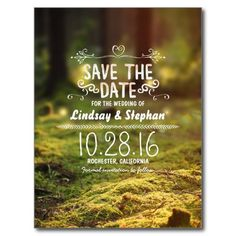 Enchanted forest rustic save the date postcards