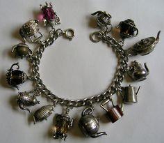 Vintage Silver English Afternoon Teatime Charm Bracelet w 14 Tea Pots Nuvo Chim | eBay