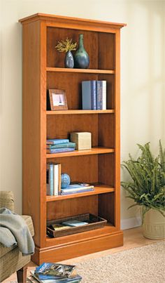 Whether you build one, two, or three, this bookcase will blend into any room. And it's as easy to construct as it is useful and beautiful. Bookcase Plans, Wide Bookcase, Built In Bookcase, Bookshelves, Small Furniture, Home Office Furniture, Diy Furniture, Woodworking Furniture, Woodworking Plans
