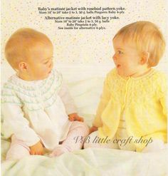Baby's matinee jacket knitting pattern. Instant PDF download! by VBlittlecraftshop on Etsy