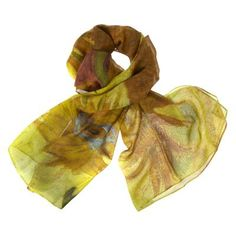 £50 - Treat yourself to a touch of genuine luxury with this beautiful pure Georgette silk scarf, inspired by Van Gogh's Sunflowers.