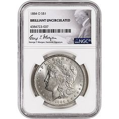 Coin: 1884 O Us Morgan Silver Dollar Ngc George T. Morgan Label $1 Brilliant Uncirculated Ngc