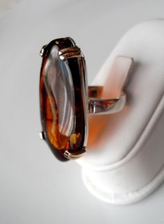 Natural Baltic amber ring with sterling silver by SebsJewellery