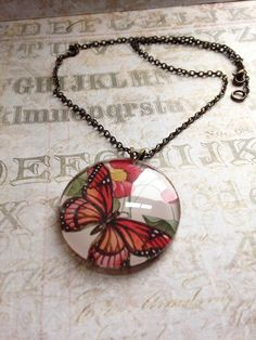 Butterfly Cabachon Necklace by TLCadornments on Etsy