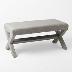 Cross Base Upholstered Bench - Prints | West Elm