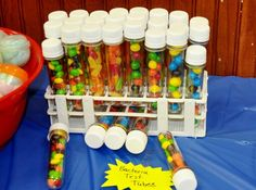 Bacteria test tube (candies) for my son 1st Birthday party Sid the Science Kid theme