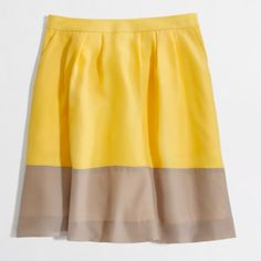 J.Crew Factory pleated colorblock skirt Yellow and tan color block Pleated skirt. Super girly and perfect for spring and summer. Like new. J. Crew Skirts