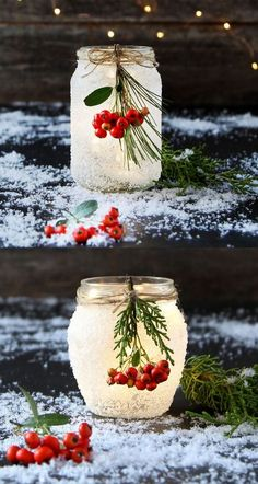 ✔ Christmas wedding centerpieces minutes of DIY snow frosted mason jar decorations {Magical!}Magical DIY snow frosted mason jar decorations: FREE beautiful Thanksgiving and Christmas Frosted Mason Jars, Painted Mason Jars, Glitter Mason Jars, Glitter Candles, Pot Mason Diy, Mason Jar Crafts, Bottle Crafts, Diy Home Decor Projects, Diy Projects To Try