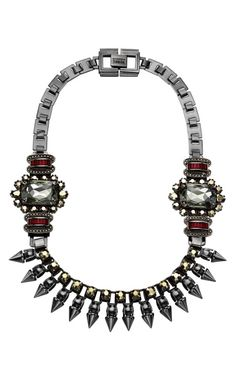 For Fall 2012, it's about military and jewel tones. We love the juxtaposition of metal and glam in this innovative necklace.