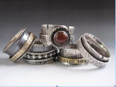 Richard Salley Spinner Rings by brendaq Boho Jewelry, Jewelry Art, Beaded Jewelry, Jewelry Rings, Silver Jewelry, Jewelry Design, Handmade Jewelry, Jewellery, Bling Bling