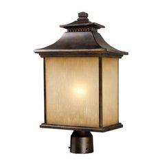 ELK Lighting 42184-1 San Gabriel 1 Light Outdoor Post Lamp In Hazelnut Bronze
