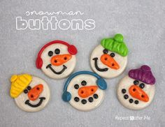 Repeat Crafter Me: Polymer Clay Snowman Buttons