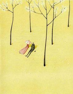 """Bernard and Ethel"" mounted print - Laura Stoddart Romantic Scenes, Tree Canvas, Love Illustration, Illustrations, Art Sketchbook, Find Art, Giclee Print, Drawings, Prints"