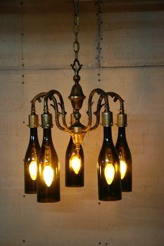 Cool wine bottle chandelier to hang from my pergola woodworking bottle chandelier aloadofball Choice Image