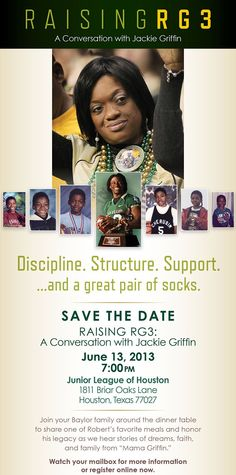 Raising #RG3: A Conversation with Jackie Griffin -- events in Dallas, Houston, Nashville and Waco will raise funds for the #RGIII QB Scholarship at #Baylor. #sicem (click for details)