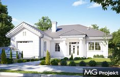 Dom na parkowej 3 on Behance Beautiful House Plans, Beautiful Homes, Home Fashion, Bungalow, Backyard, House Design, How To Plan, Mansions, House Styles