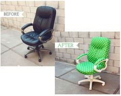 Before After DIY Office Chair Covers Interior Design - GiesenDesign Office Chair Makeover, Furniture Makeover, Office Decor, Office Chairs, Desk Chairs, Room Chairs, Home Office Furniture, Furniture Projects, Desk Chair Covers