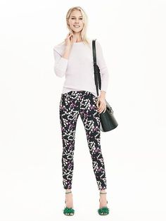 Spring into season with these floral printed slim ankle pants. These cotton blend pants are will look great dressed down with sandals and a basic white tee or dressed up with a silk blouse and patent leather stilettos | Banana Republic