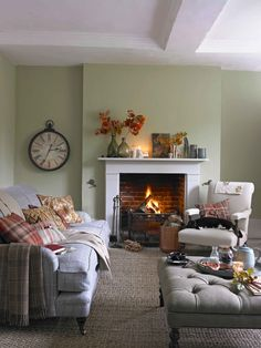 Mix pattern and plaid! Imagine cosy evenings settling down on a comfy tweed sofa layered with check throws and embroidered cushions – add a footstool for extra seating and resting aching feet.