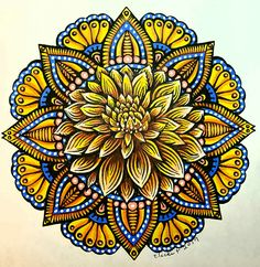A Mae Klein design colored with Prisma pencils and markers by Vicki Patterson. Mandala Doodle, Mandala Drawing, Mandala Painting, Dot Painting, Coloring Books, Coloring Pages, Colored Pencil Techniques, Turkish Art, Doodle Patterns