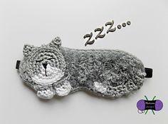 Cat Nap Sleep Mask PDF crochet pattern ONLY sleep night mask beauty rest kitten Crochet Mask, Crochet Eyes, Crochet Home, Crochet Gifts, Diy Crochet, Crochet Dolls, Crochet Stitches, Knitting Patterns, Crochet Patterns