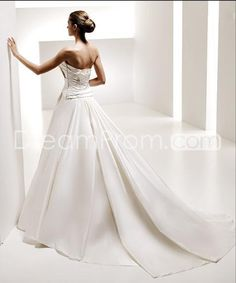 US $217.29 A-Line/Princess Strapless Chapel Satin Bridal Gown (3AA0485)