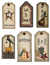 The Krazy Kraft Lady: hang tags Noel Christmas, Primitive Christmas, Country Christmas, Christmas Crafts, Christmas Decorations, Primitive Labels, Primitive Crafts, Primitive Patterns, Free Printable Tags