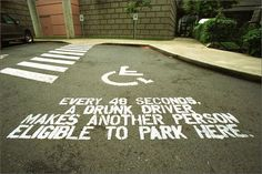 The Print Ad titled GUERRILLA PARKING was done by Wongdoody advertising agency for product: Mothers Against Drunk Driving (brand: Madd) in United States. It was released in Jan Guerilla Marketing, Street Marketing, Marketing Tactics, Corporate Design, Dont Drink And Drive, Drunk Driving, Distracted Driving, Driving School, Driving Tips