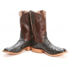 BootDaddy Men's Collection with Rios of Mercedes Ostrich Black Cowboy Boots