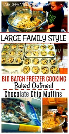 Baked oatmeal chocolate chip muffins are great for a yummy breakfast or for a relaxing snack. Cook up a bunch, freeze and have muffins on hand when you have a surprise visitor! So convenient and easy! Budget Freezer Meals, Healthy Freezer Meals, Make Ahead Meals, Freezer Cooking, Freezable Meals, Frugal Meals, Easy Meals, Chocolate Chip Muffins, Chocolate Chip Oatmeal