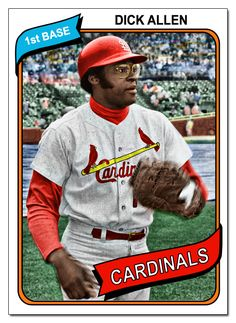 1970 Topps Dick Allen, Cardinals,  He was a Cardinal for just one year, and was injured and missed part of August and all of September, but still hit 34 hr's and drove in 101 rbi's.