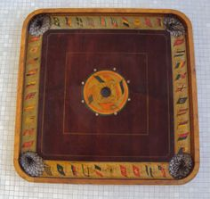 Beautiful antique c.1902 Flags of the World Carrom Archarena wood and litho paper game board Ludington, Michigan