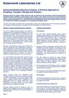 Butterworth Laboratories - Download Our Latest White Paper  Enhanced Residual Solvents Analysis: A Practical Approach to Sampling, Transport, Storage and Analysis