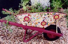 #wheelbarrow hand painted #garden #ornament - Wow!