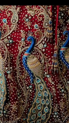 Embroidered & Beaded Peacock Fabric in Shades of Deep Blue & Red . Indian Embroidery, Ribbon Embroidery, Embroidery Patterns, Peacock Embroidery Designs, Art Du Fil, Peacock Art, Peacock Fabric, Peacock Decor, Peacock Design