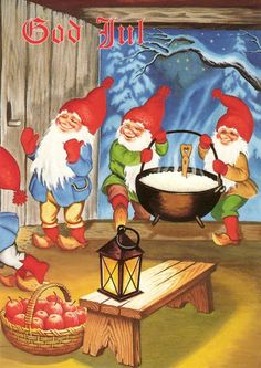 At Christmas you MUST leave a bowl of steaming hot rice porridge for them or they will play harmless Swedish Christmas, Scandinavian Christmas, Vintage Christmas, Christmas Holidays, Christmas Cards, Merry Christmas, Christmas Images, Elves And Fairies, Christmas Illustration
