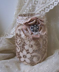Dyed Mason Jars | mason jar with hand dyed vintage lace tattered rose pin center ...