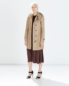 Image 1 of COTTON TRENCHCOAT WITH HOOD from Zara
